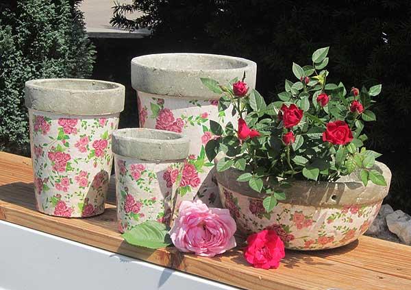 Rosentöpfe - blumentöpfe mit Rosendekor