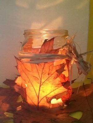 Windlicht Herbstlaub