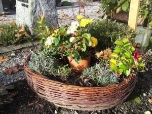 Herbstliche Bepflanzung für das Grab