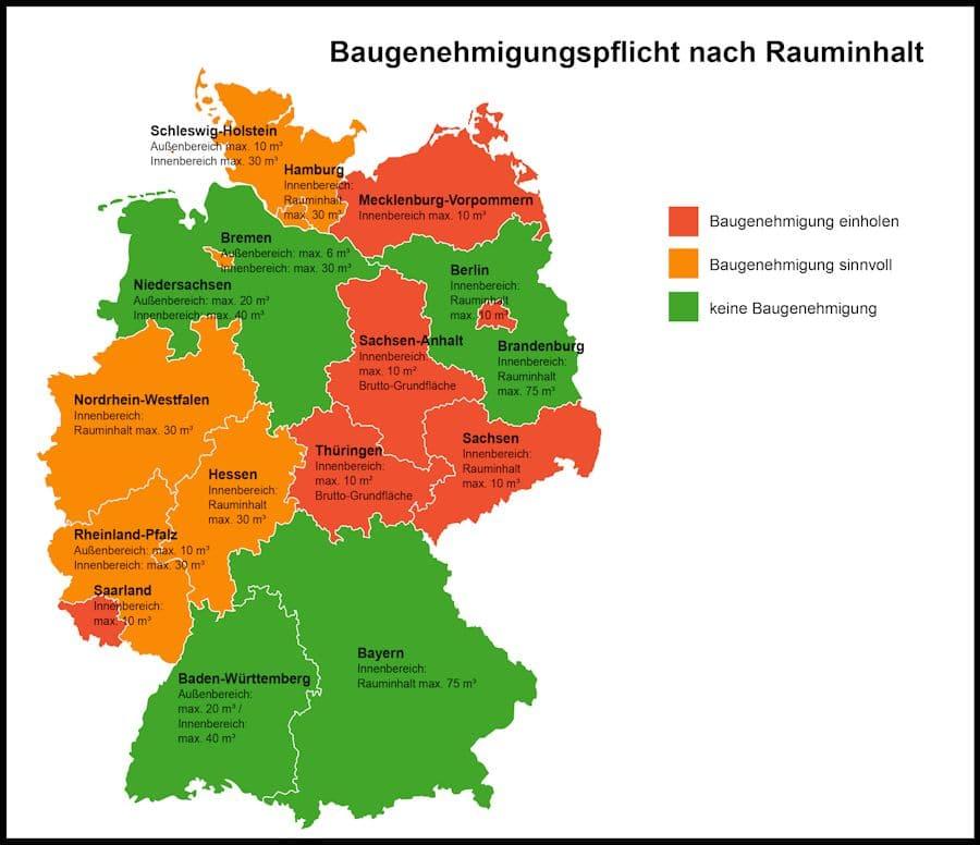 Deutschlandkarte Baugenehmigung Gartenhaus