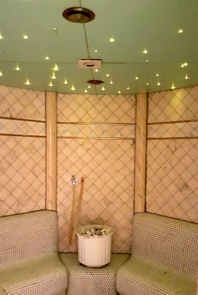 Sauna mit LED-Saunabeleuchtung, Gartenzeitung.com